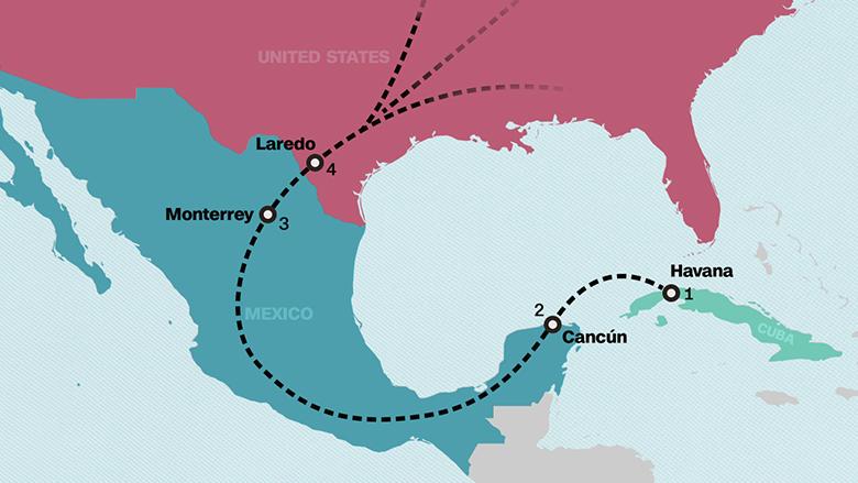 La ruta usada por los traficantes que llevaron a EE.UU. a Leonys Martín Tápanes y otros cuatro jugadores.