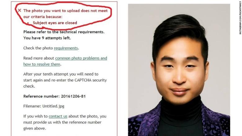 Richard Lee no pudo completar la solicitud online de un pasaporte porque el sistema le rechazó la foto, diciéndole que tenía los ojos cerrados.