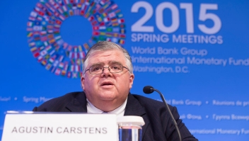 ASHINGTON, DC - APRIL 18: In this handout provided by the International Monetary Fund (IMF), IMFC Chair Agustin Carstens holdsa joint press conference April 18, 2015 after the IMFC meeting at the 2015 IMF/World Bank Spring Meetings In Washington, DC. (Photo by Stephen Jaffe/IMF via Getty Images)