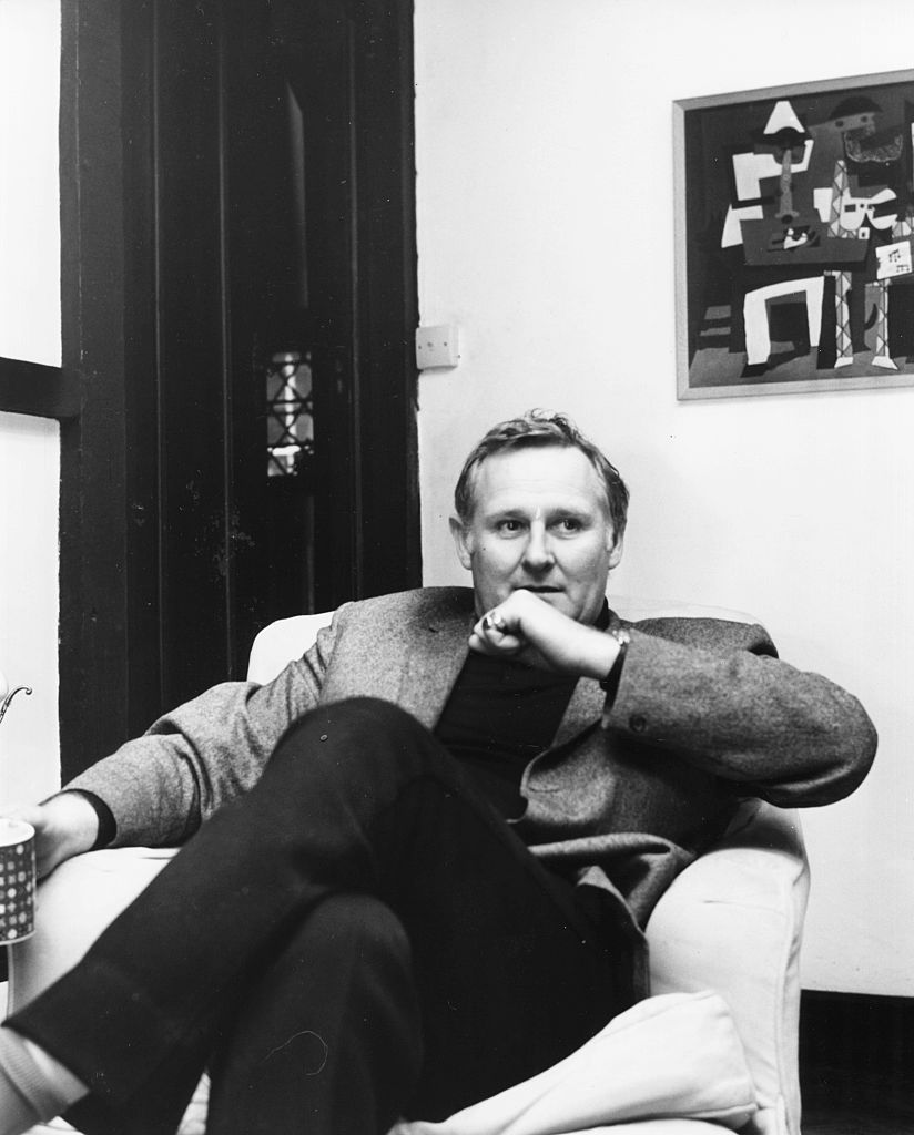 Portrait of actor Peter Vaughan sitting in an armchair in his home Goff Manor, Crawley, Sussex, circa 1969. (Photo by Chris Ware/Keystone Features/Getty Images)
