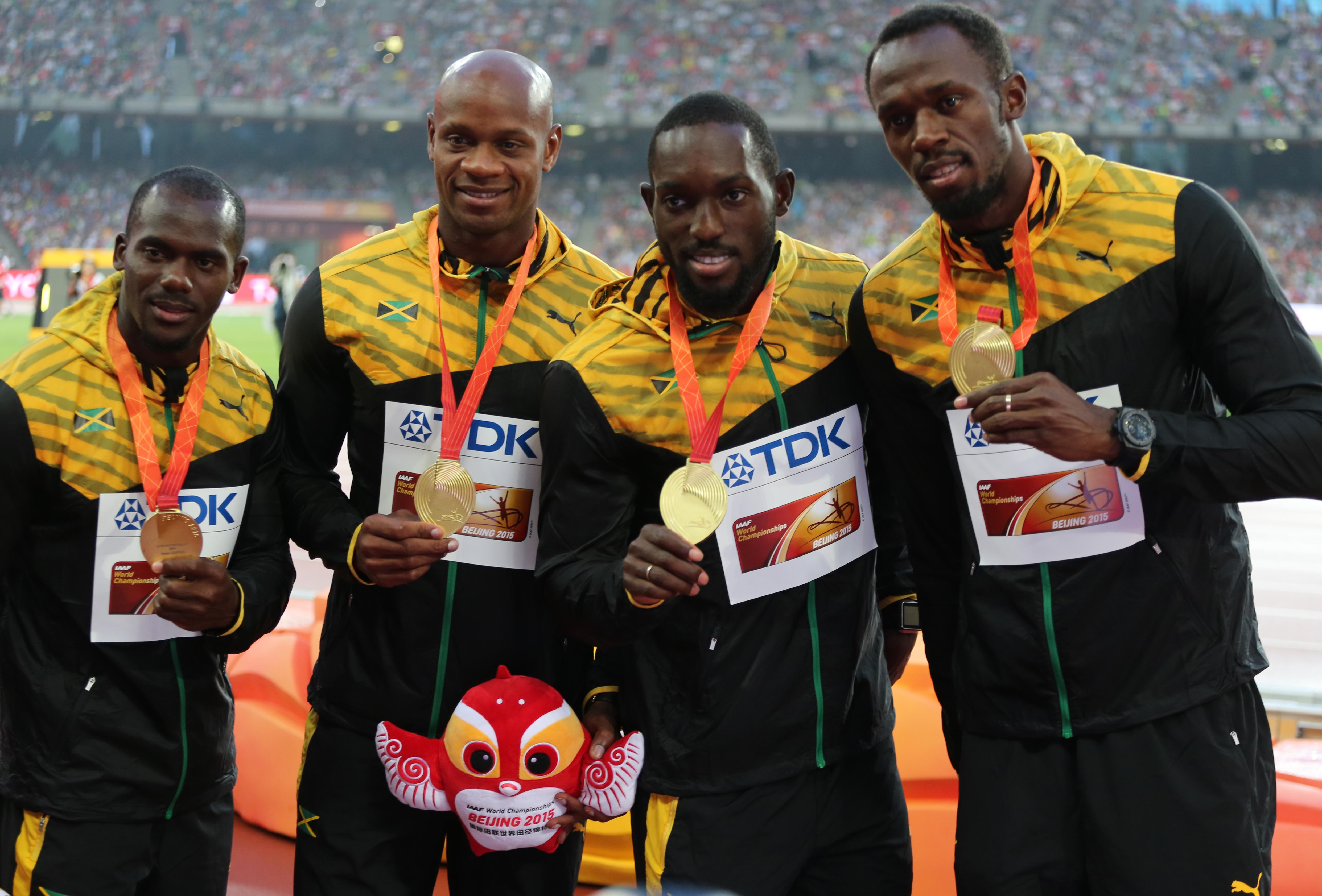 El equipo ganador jamaiquino de los 4 x 100 en los mundiales de Beijing 2015. De izquierda a derecha: Nesta Carter, Asafa Powell, Nickel Ashmeade y Usain Bolt. Giuliano Bevilacqua/Corbis via Getty Images)