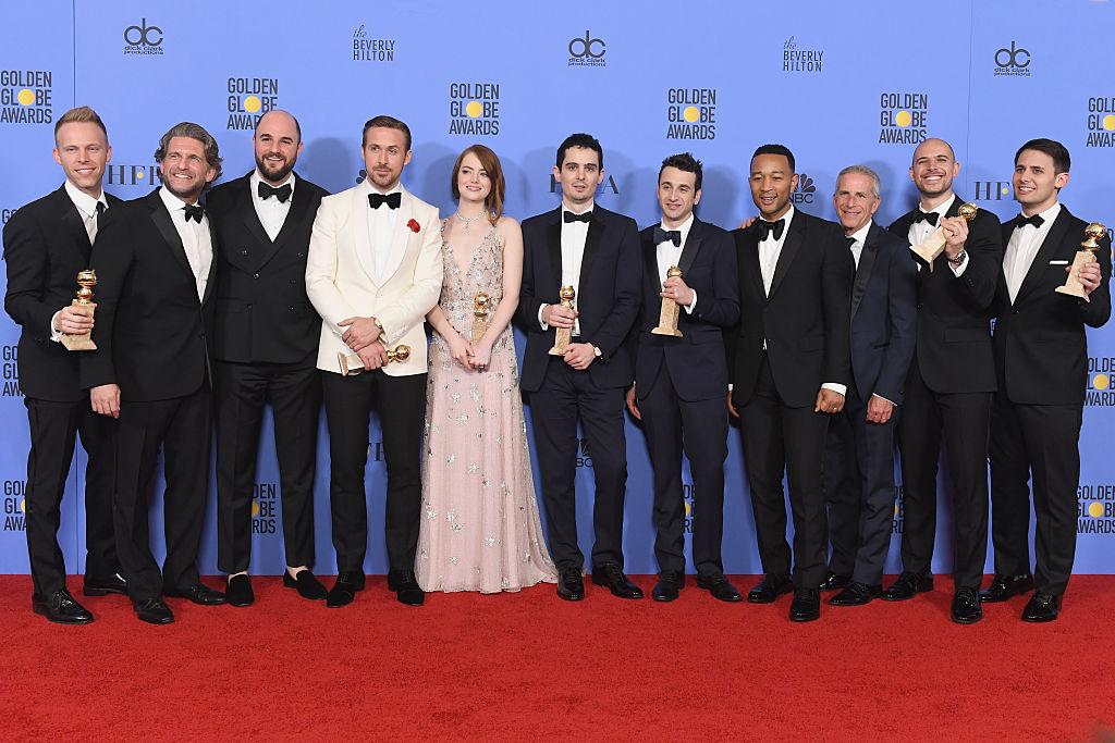 La película La La Land fue la máxima ganadora en la noche de los Globo de Oro al llevarse siete premios. Mejor película musical o comedia, Mejor actor en comedia o musical, Mejor actriz en musical o comedia, Mejor director, Mejor guión, Mejor banda sonora original y Mejor canción original. (Crédito: Kevin Winter/Getty Images)