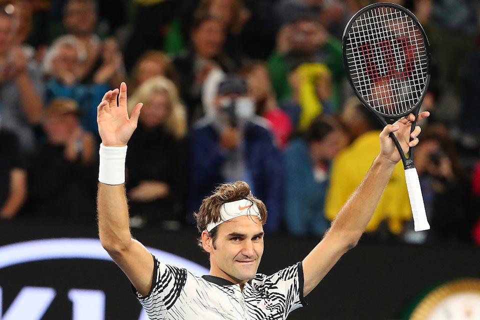 Roger Federer celebra en Australia (Scott Barbour/Getty Images)