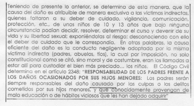 (Apartado del documento del abogado de la Iglesia de Cali en el proceso contra el sacerdote Mazo Pérez por abuso sexual de menores)