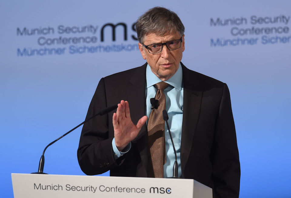 , co-chairman of the Bill & Melinda Gates Foundation speaks during the second day of the 53rd Munich Security Conference (MSC) at the Bayerischer Hof hotel in Munich, southern Germany, on February 18, 2017. / AFP / Christof STACHE (Photo credit should read CHRISTOF STACHE/AFP/Getty Images)