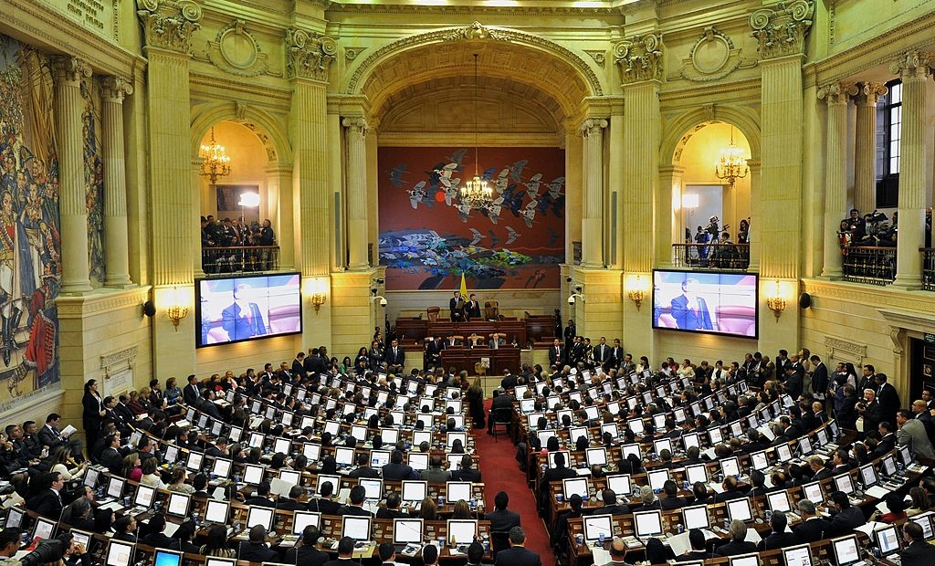 "General view during the installation of the new Congress (2014-2018) at the Capitol in Bogota, Colombia, on July 20, 2014. Colombian President Juan Manuel Santos settled on Sunday which he called the Congress of peace and called on lawmakers to support the task to carry out the agreements and rules for a ""post-conflict nation."" AFP PHOTO/Guillermo Legaria (Photo credit should read GUILLERMO LEGARIA/AFP/Getty Images)"
