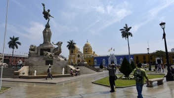 The Plaza de Armas main square of the northern city of Trujillo, 500 km north of Lima, on September 23, 2014. Trujillo, the third largest city of Peru with a population around 800, 000, was founded in 1535 by Spanish conqueror Francisco Pizarro. The square is adorned by a monument to Liberty created by German sculptor Edmund Moeller between 1921 to 1929.AFP PHOTO/CRIS BOURONCLE (Photo credit should read CRIS BOURONCLE/AFP/Getty Images)