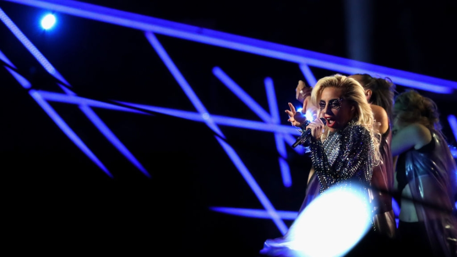 HOUSTON, TX - FEBRUARY 05: Lady Gaga performs during the Pepsi Zero Sugar Super Bowl 51 Halftime Show at NRG Stadium on February 5, 2017 in Houston, Texas. (Photo by Patrick Smith/Getty Images)