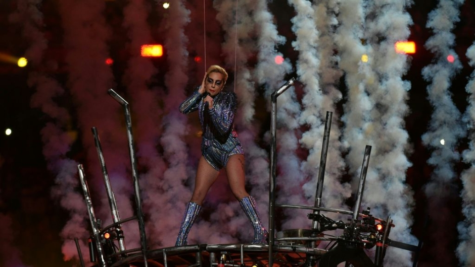 Singer Lady Gaga performs during the halftime show of Super Bowl LI at NGR Stadium in Houston, Texas, on February 5, 2017. / AFP / Valerie MACON (Photo credit should read VALERIE MACON/AFP/Getty Images)