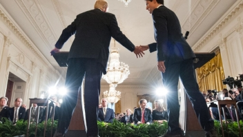US President Donald Trump and Canada's Prime Minister Justin Trudeau shake hands during a joint press conference in the East Room of the White House on February 13, 2017 in Washington, DC. / AFP / MANDEL NGAN (Photo credit should read MANDEL NGAN/AFP/Getty Images)