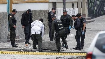 ORRECTION - Colombian anti-explosive police inspect the site where a bomb exploded near the La Santamaria bullring in downtown Bogota, Colombia, on February 19, 2017. According to official reports, 30 people were injured in the explosion. / AFP / STR / The erroneous mention[s] appearing in the metadata of this photo by STR has been modified in AFP systems in the following manner: [According to official reports, 30 people were injured in the explosion.] instead of [According to official reports, one policeman was killed and 30 people were injured in the explosion.]. Please immediately remove the erroneous mention[s] from all your online services and delete it (them) from your servers. If you have been authorized by AFP to distribute it (them) to third parties, please ensure that the same actions are carried out by them. Failure to promptly comply with these instructions will entail liability on your part for any continued or post notification usage. Therefore we thank you very much for all your attention and prompt action. We are sorry for the inconvenience this notification may cause and remain at your disposal for any further information you may require. (Photo credit should read STR/AFP/Getty Images)