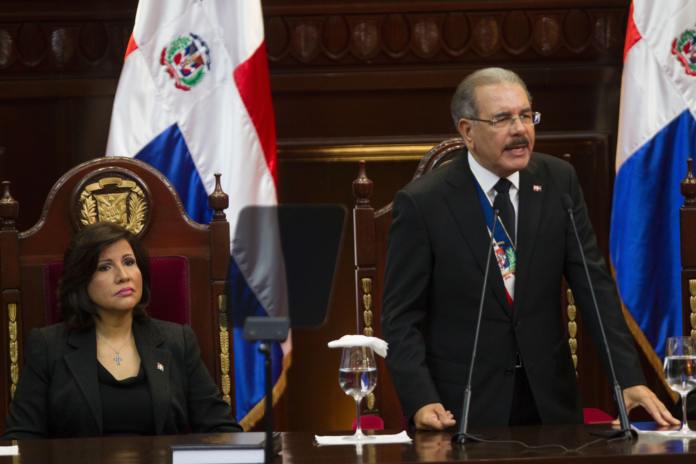El presidente dominicano, Danilo Medina, se dirige e su país en el marco del discurso de rendición de cuentas en Santo Domingo. (Crédito: ERIKA SANTELICES/AFP/Getty Images)