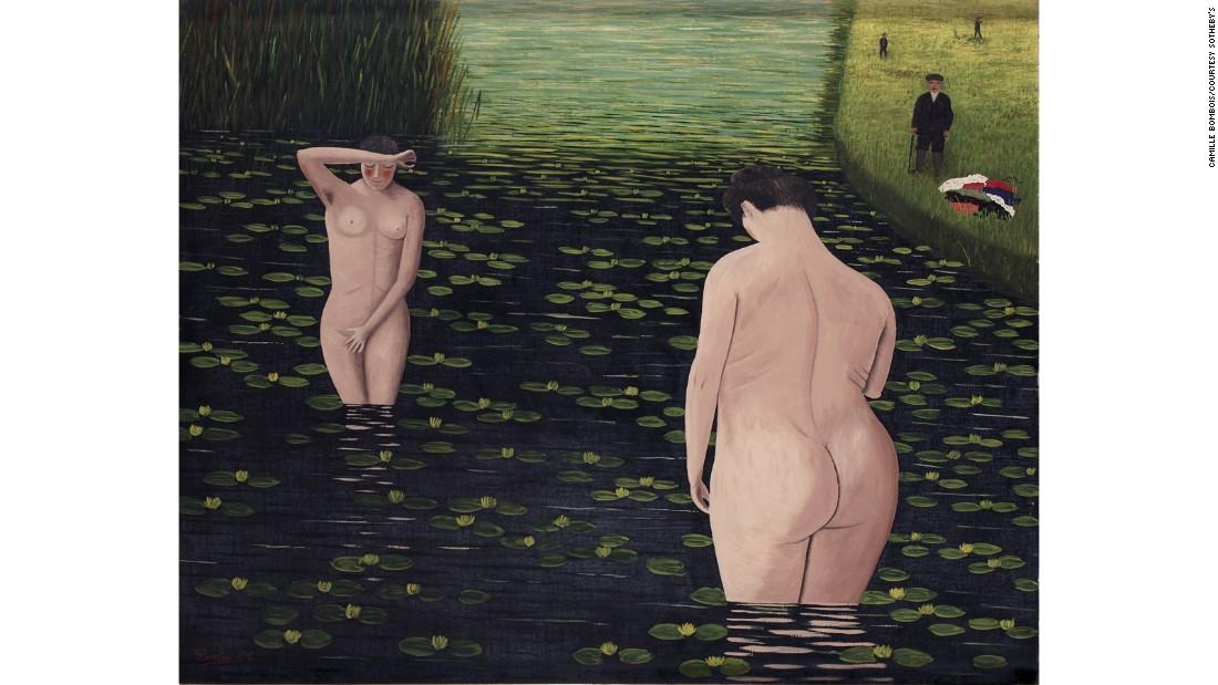 """""""Baigneuses surprises"""" (Las bañistas sorprendidas) de 1930 por Camille Bombois."""