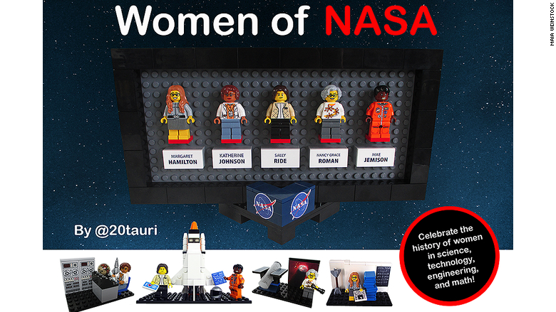 """El set """"Mujeres de la NASA"""" fue diseñado por la escritora científica Maia Weinstock y representa a cinco mujeres pioneras en el programa espacial de Estados Unidos."""
