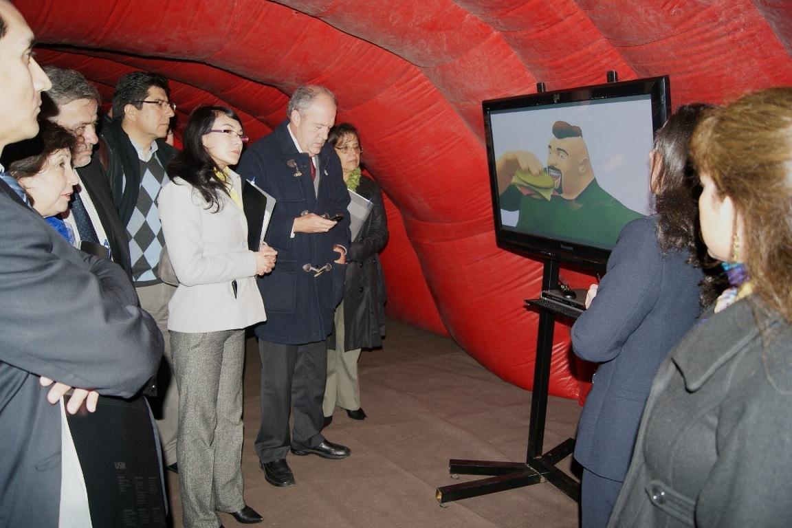 Así se vio el colon gigante interactivo en Chile. (Crédito: Universidad Técnica Federico Santa María)