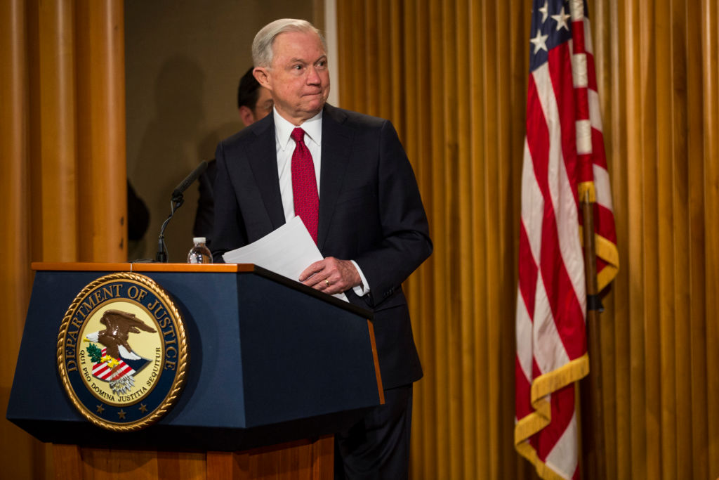Jeff Sessions, secretario de Justicia de Estados Unidos. (Crédito: Zach Gibson/Getty Images).