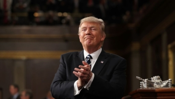 US President Donald J. Trump reacts after delivering his first address to a joint session of Congress from the floor of the House of Representatives in Washington, DC, USA, 28 February 2017. / AFP / POOL / JIM LO SCALZO (Photo credit should read JIM LO SCALZO/AFP/Getty Images)