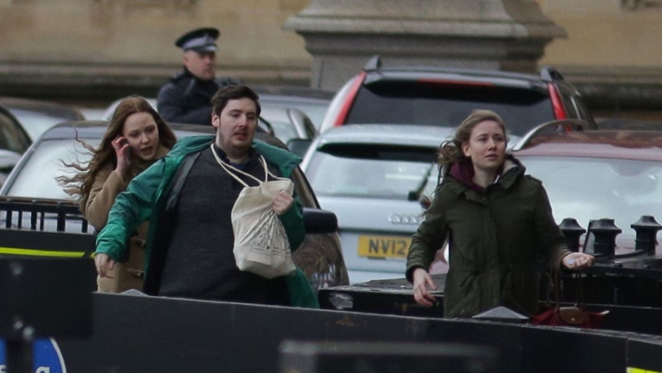 being evacuated from the Houses of Parliament in central London on March 22, 2017 during an emergency incident. Britain's Houses of Parliament were in lockdown on Wednesday after staff said they heard shots fired, triggering a security alert. / AFP PHOTO / DANIEL LEAL-OLIVAS (Photo credit should read DANIEL LEAL-OLIVAS/AFP/Getty Images)