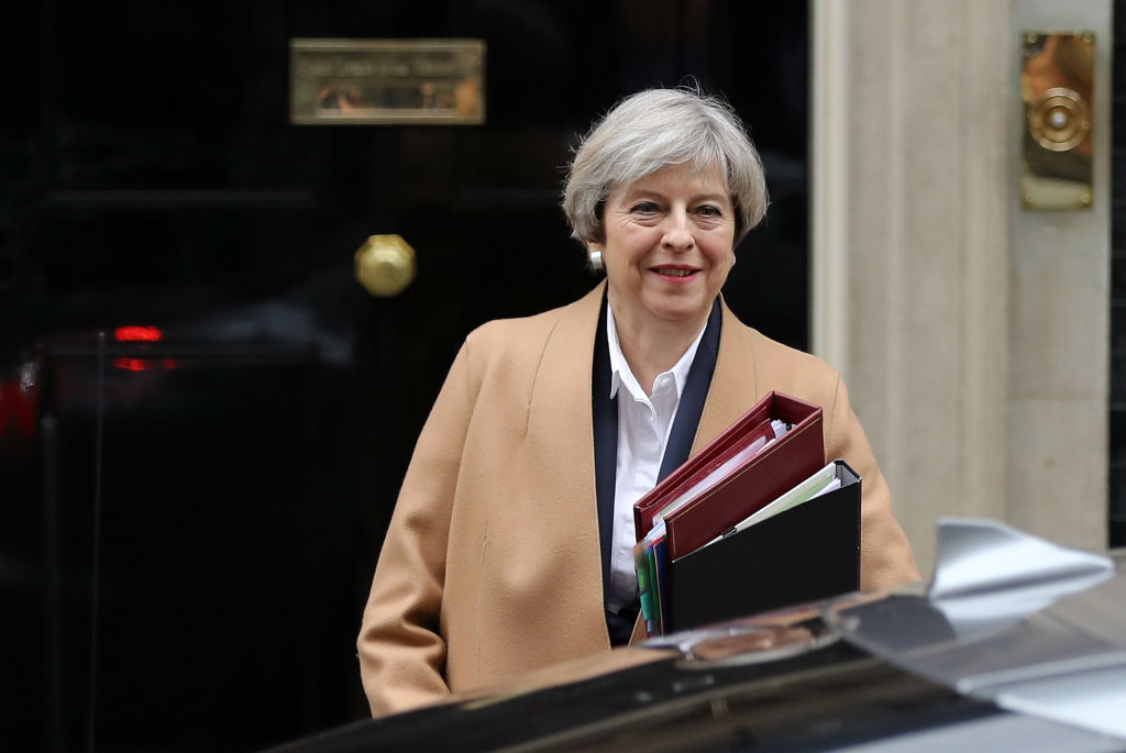 LONDON, ENGLAND - MARCH 29: British Prime Minister Theresa May departs 10 Downing Street on March 29, 2017 in London, England. Later today British Prime Minister Theresa May will address the Houses of Parliament as Article 50 is triggered and the process that will take the United Kingdom out of the European Union will begin. (Photo by Dan Kitwood/Getty Images)