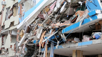 View of collapsed buildings in Manta after a 7.8 degree earthquake hit Ecuador on April 17, 2016. At least 233 people have been killed in the 7.8-magnitude earthquake that struck Ecuador's Pacific coast, President Rafael Correa said Sunday. / AFP / ARIEL OCHOA (Photo credit should read ARIEL OCHOA/AFP/Getty Images)