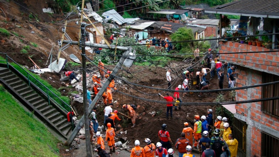 General view after mudslides in Manizales, Caldas department, Colombia on April 19, 2017. Flooding and mudslides in central Colombia have killed at least eleven people, the Red Cross said Wednesday, causing alarm in a country still recovering from mudslides that killed hundreds / AFP PHOTO / STRINGER (Photo credit should read STRINGER/AFP/Getty Images)