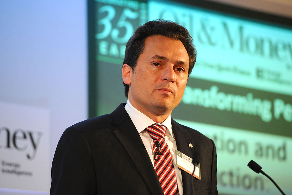 LONDON, ENGLAND - OCTOBER 30: Emilio Lozoya Austin CEO of Pemex, appears on stage during the INYT/Energy Intelligence Oil & Money Conference - Day 2 on October 30, 2014 in London, England. (Photo by Anthony Harvey/Getty Images for The New York Times)
