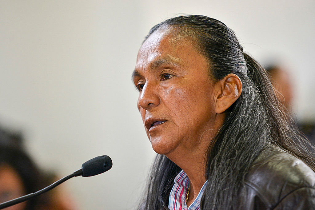 Argentine Milagro Sala, imprisoned leader of the Tupac Amaru neighborhood association, speaks during a court hearing in Jujuy on December 15, 2016. Sala, 52, is in jail since January 2016 for insurrection after having called for a protest against Jujuy's governor Gerardo Morales, an ally of Argentine President Mauricio Macri. / AFP / TELAM / EDGARDO A. VALERA (Photo credit should read EDGARDO A. VALERA/AFP/Getty Images)