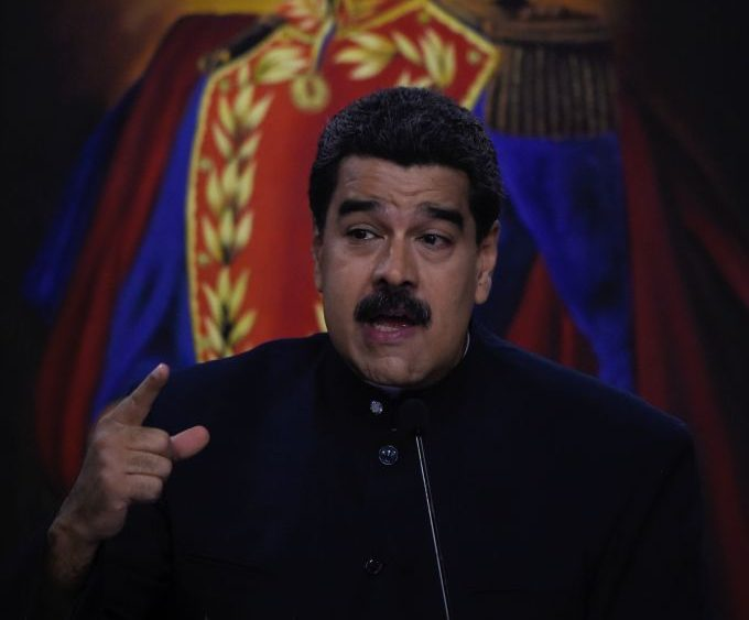 Venezuelan President Nicolas Maduro offers a press conference at the Miraflores presidential palace in Caracas on August 22, 2017. Chile said Tuesday it has granted diplomatic asylum to five Venezuelans who took refuge in its embassy in Caracas, amid political turmoil as Maduro moves to consolidate power. The five were among a group of 33 jurists who had been named to the Venezuelan Supreme Court by the opposition-controlled National Assembly on July 31 in defiance of the government. / AFP PHOTO / Juan BARRETO (Photo credit should read JUAN BARRETO/AFP/Getty Images)