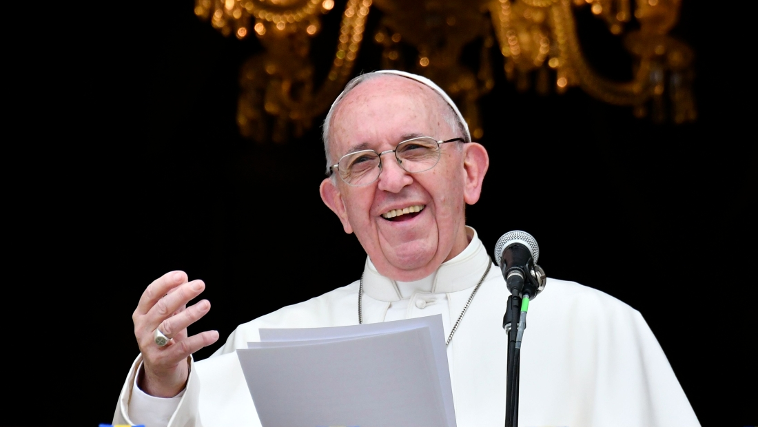 "Pope Francis delivers a speech from a balcony of the Archbishop's Palace to people gathering at Bolivar Square in Bogota on September 7, 2017. Pope Francis urged Colombians to avoid seeking ""vengeance"" for the sufferings of their country's half-century civil conflict as they work towards a lasting peace. The 80-year-old pontiff spoke alongside Colombia's President Juan Manuel Santos, who has overseen recent controversial efforts to make peace with armed rebel groups. / AFP PHOTO / Alberto PIZZOLI (Photo credit should read ALBERTO PIZZOLI/AFP/Getty Images)"
