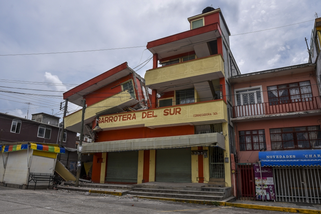 Picture of a building which was severely damaged with the powerful earthquake that struck Mexico overnight, taken in Matias Romero, Oaxaca State, on September 8, 2017. Mexico's most powerful earthquake in a century killed at least 35 people, officials said Friday, after it struck the Pacific coast, wrecking homes and sending families fleeing into the streets. / AFP PHOTO / VICTORIA RAZO (Photo credit should read VICTORIA RAZO/AFP/Getty Images)