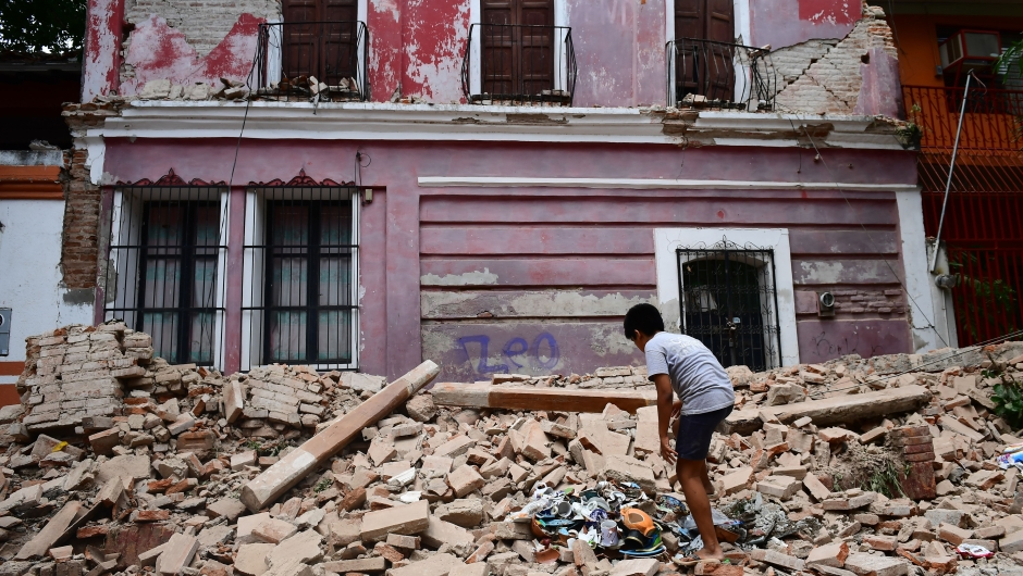 View of damages caused by the 8.2 magnitude earthquake that hit Mexico's Pacific coast, in Juchitan de Zaragoza, state of Oaxaca on September 8, 2017. Mexico's most powerful earthquake in a century killed at least 35 people, officials said, after it struck the Pacific coast, wrecking homes and sending families fleeing into the streets. / AFP PHOTO / RONALDO SCHEMIDT (Photo credit should read RONALDO SCHEMIDT/AFP/Getty Images)