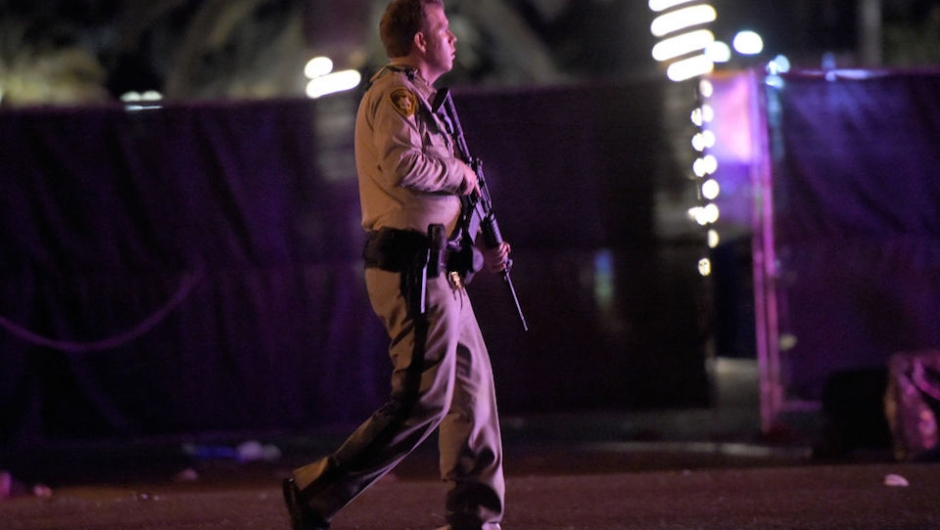 LAS VEGAS, NV - OCTOBER 02: Las Vegas police patrol along the streets outside the the Route 91 Harvest country music festival grounds after a active shooter was reported on October 1, 2017 in Las Vegas, Nevada. A gunman has opened fire on a music festival in Las Vegas, leaving at least 2 people dead. Police have confirmed that one suspect has been shot. The investigation is ongoing. (Photo by David Becker/Getty Images)