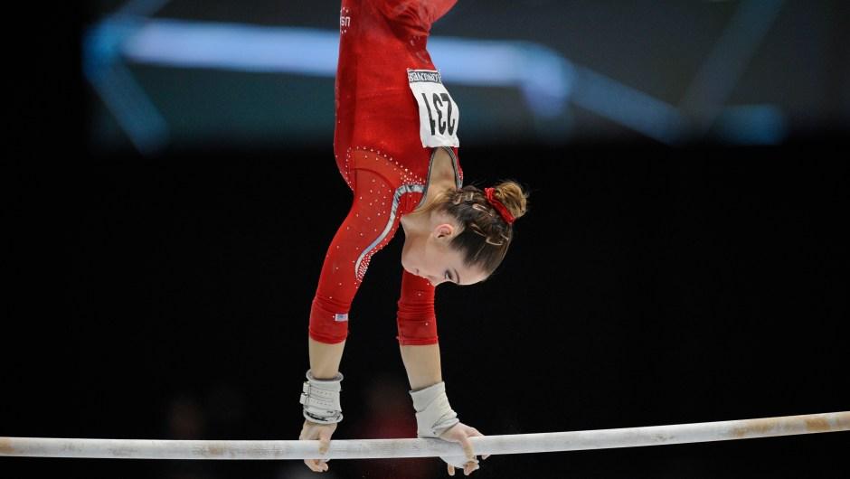 McKayla Maroney compite en barras asimétricas en el Mundial de Gimnasia Artística en Amberes el 2 de octubre de 2013. Crédito: JOHN THYS / AFP / Getty Images.