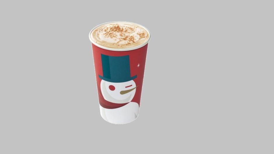 Un muñeco de nieve guiñando el ojo con diseño art deco decoró el vaso de Starbucks para las fiestas de 2012.