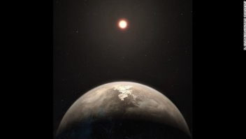This artist???s impression shows the temperate planet Ross 128 b, with its red dwarf parent star in the background. This planet, which lies only 11 light-years from Earth, was found by a team using ESO???s unique planet-hunting HARPS instrument. The new world is now the second-closest temperate planet to be detected after Proxima b. It is also the closest planet to be discovered orbiting an inactive red dwarf star, which may increase the likelihood that this planet could potentially sustain life. Ross 128 b will be a prime target for ESO???s Extremely Large Telescope, which will be able to search for biomarkers in the planet's atmosphere.