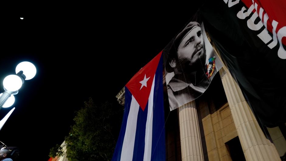 A giant poster of late former president Fidel Castro hangs on a building at the University of Havana to commemorate the first anniversary of his death, on November 25, 2017. On November 25 Cuba commemorates the first anniversary of the death of Fidel Castro, during an electoral process that will bring a change in president against a backdrop of economic recession, hostility from the United States, and stagnation in the reforms that have been implemented. / AFP PHOTO / ADALBERTO ROQUE (Photo credit should read ADALBERTO ROQUE/AFP/Getty Images)