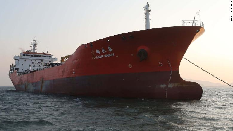 The Lighthouse Winmore, chartered by Taiwanese company Billions Bunker Group Corp., is seen at sea off South Korea's Yeosu port on December 29, 2017. South Korea briefly seized and inspected a Hong Kong-registered ship in November for transferring oil products to a North Korean vessel and breaching UN sanctions, a foreign ministry official said on December 29. / AFP PHOTO / YONHAP / - / - South Korea OUT / REPUBLIC OF KOREA OUT NO ARCHIVES RESTRICTED TO SUBSCRIPTION USE -/AFP/Getty Images