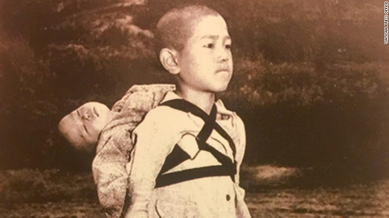 Pope releases photo 'The fruit of war' Nagasaki 1945, taken by American photographer Joseph Roger O???Donnell.