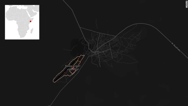 Un mapa de calor de Strava del aeropuerto de Baidoa en Somalia.