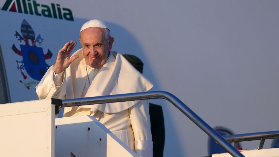 Pope Francis waves as he boards a plane at Rome's Fiumicino Airport on January 15, 2018 for his trip to Chile. Pope Francis set off on a trip to Chile and Peru, a seven-day Latin-American visit which will see the pontiff rally a flagging local church on his home continent. / AFP PHOTO / FILIPPO MONTEFORTE (Photo credit should read FILIPPO MONTEFORTE/AFP/Getty Images)