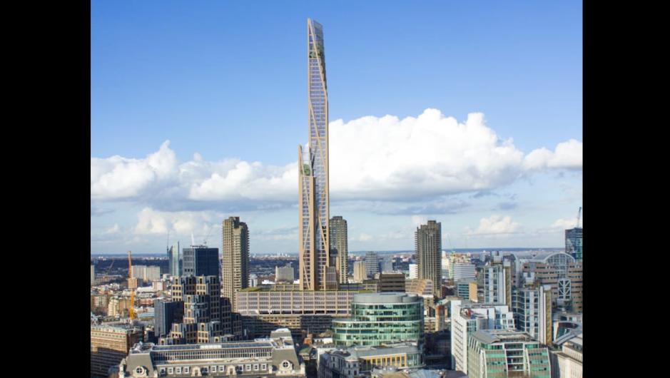 Con una altura de 80 pisos, sería el primer rascacielos de madera de Londres y otra contribución a la tendencia creciente de hacer estructuras enteramente en madera. Foto: Cortesía de PLP arquitecture