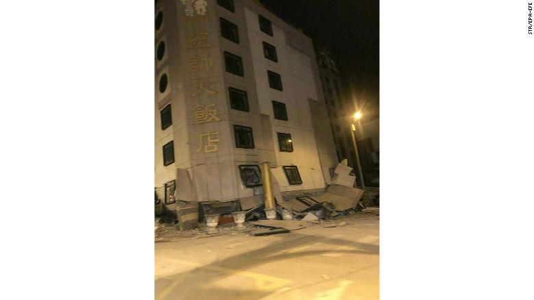 epa06500736 The Tongshuai Hotel is damaged after a magnitude 6 earthquake hit Hualien on Taiiwan's east coast in the night of 06 February 2018. TV reports said two hotels, including Tongshuai, were damaged and some other buildings might also be damaged during the quake. Rescue teams are trying to rescue people inside the buildings. Some bridges and roads are damaged and the main road to Hualien, the Suhua Highway (Suao to Hualien Highway) is closed. More than 100 quakes have hit off Taiwan's east coast in the past three days. The Seismological Observation Center said they are cuased by the friction between the Philipine Plate and Eurasian Plate. EPA-EFE/STR BEST QUALITY AVAILABLE