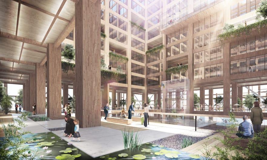 De 350 metros de largo, será el edificio de madera más alto del mundo. Costará unos 5.600 millones de dólares. Foto: Sumitomo Forestry Co. Ltd.