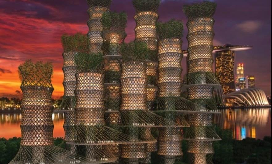 CRG Arquitectos propuso un rascacielos hecho completamente con bambú en el Festival Mundial de Arquitectura de 2015. Foto: CRG Architects.