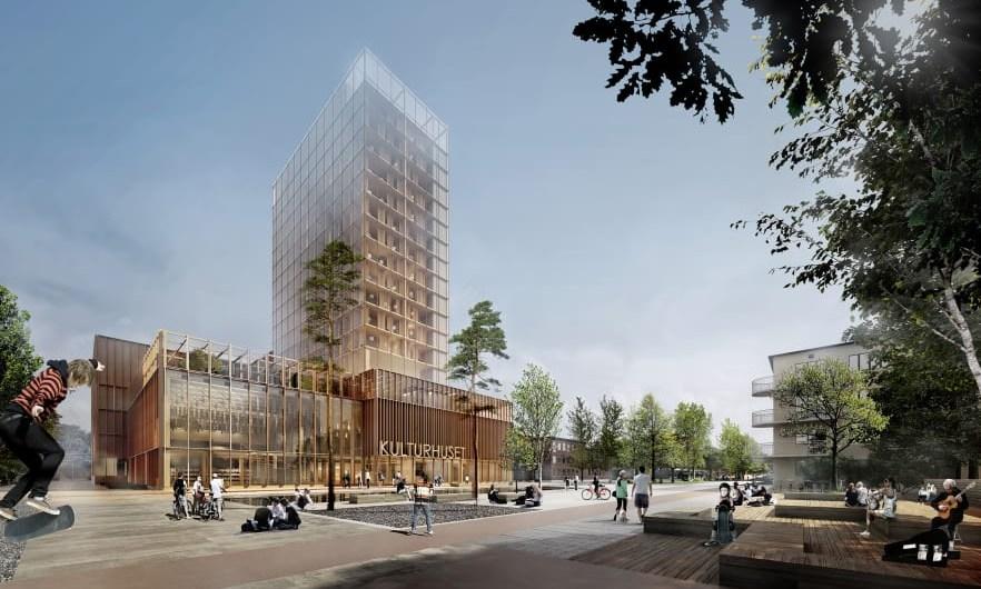 El diseño propuesto ganó una competición de arquitectura en la ciudad de Skelleftea (Suecia). Hubo 55 participantes de 10 países. Foto: cortesía de White Arkitekter.