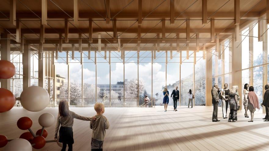 El diseño fue seleccionado por su uso de la madera como material de construcción, rindiendo así homenaje a la tradición maderera de Skelletea. Foto: cortesía de White Arkitekter.