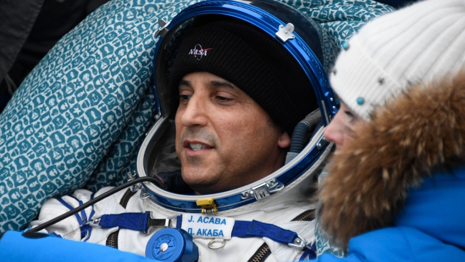 NASA astronaut Joe Acaba rests in a chair after landing in a remote area outside the town of Dzhezkazgan (Zhezkazgan), Kazakhstan, on February 28, 2018. Two NASA astronauts and a Russian cosmonaut returned to Earth on February 28, 2018, rounding off a mission of more than five months aboard the International Space Station. Alexander Misurkin of Russia's Roscosmos space agency and NASA's Mark Vande Hei and Joe Acaba touched down on steppe land southeast of the town of Dzhezkazgan in central Kazakhstan at the expected time of 0231 GMT. / AFP PHOTO / POOL / ALEXANDER NEMENOV (Photo credit should read ALEXANDER NEMENOV/AFP/Getty Images)