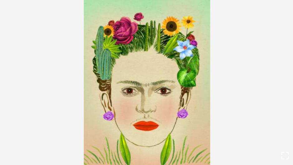 """El amor por la jardinería de la pintora mexicana quedó reflejado en su trabajo. Las plantas y flores de su jardín a menudo se ven en sus trabajos. Su último deseo antes de morir fue ser enterrada en el jardín. (Crédito: """"Recipes for Good Luck"""", por Ellen Weinstein, publicado por Chronicle Books 2018)."""