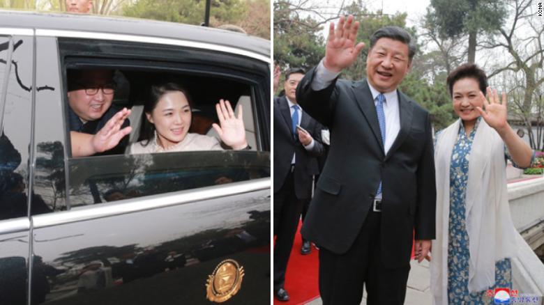 Ri y Kim saludan a Xi y Peng cuando dejan Beijing después de su exitosa visita a China, en la primera cumbre oficial de Kim con otro cabeza de estado.