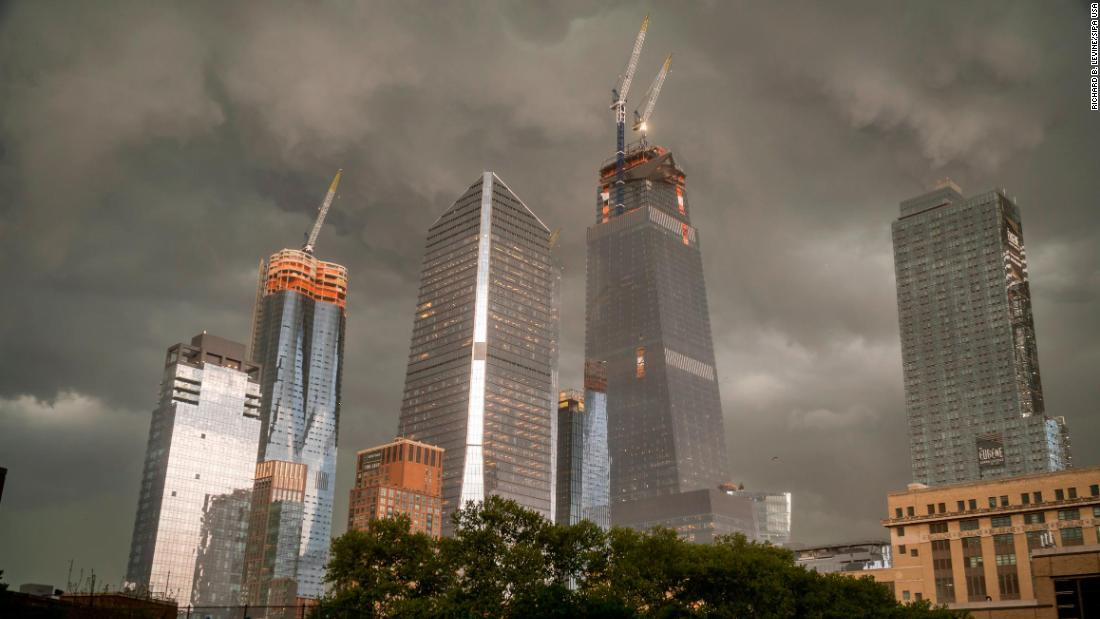 The Hudson Yards development on the west side of Manhattan in New York is seen as a fast moving storm passes through the city on Tuesday, May 15, 2018. Heavy rain, thunderstorms and flooding are expected across much of New York City and the rest of the tri-state area. (??Photo by Richard B. Levine)